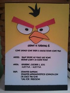 Ethan's Angry Bird Birthday Invites