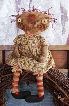 primitive patterns and doll hair and such ae     EXTREME PRIM RAGGEDY MAGGIE ROSE epattern instant download 138pc