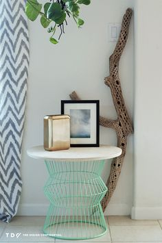 Easy DIY Wire + Wood Side Table made with ProBond | The Design Confidential