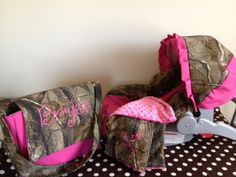 3 Piece Set REALTREE CAMO fabric infant Car Seat Cover and Canopy Cover and Diaper Bag & Huggy Blanket with Free Monogram. $105.00, via Etsy.