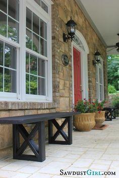 red doors, idea, diy crafts, rustic homes, door colors, front doors, outdoor benches, diy projects, front porches