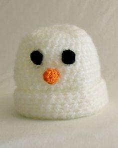 Free Crochet Baby Snowman Hat Pattern..