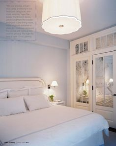 Love this small space idea - take an ordinary bedroom closet and add antiqued mirrored panels. Such style and dimension. via lonny mag.