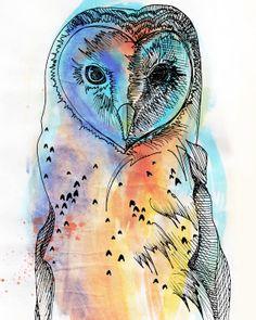 Watercolor & Ink Owl Illustration / Printable
