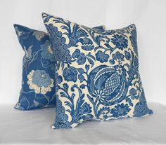 2 Pillow Covers Royal Blue Floral Only 2 Sizes by MyPillowStudio, $48.00