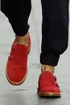 wgsn:    Bright red double-monks stood out amongst the range of #Footwear at the @O_Spencer show #OliverSpencer #LCM