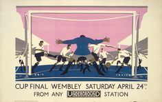 london underground, vintage posters, underground poster, transport museum, eric georg, 1928, london transport, georg fraser, cup final