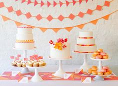 dessert tables, orang, wedding colors, wedding cakes, garland