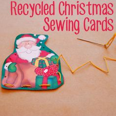 Recycled Christmas Sewing Cards from Childhood 101 christmas cards, sew card, sewing cards, childhood, fine motor, christmas ideas, motor skills, christmas sewing, kid