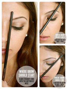 How to Find Your Eyebrow Arch.. I WISH MORE WOMEN WOUKD DO THEIR EYEBROWS CORRECTLY. THEY AREN'T SUPPOSED TO B STRAIGHT & STOP PLUCKING THE TOP!