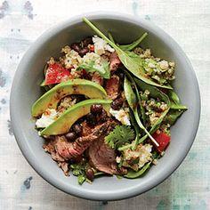 Black Bean Quinoa Salad with Chipotle Steak | Cooking Light #myplate #fruit #veggies #wholegrain #dairy #protein