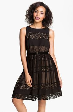 Jessica Simpson Lace Inset Fit & Flare Dress available at #Nordstrom