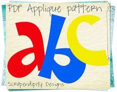 Free Applique Patterns Download | Alphabet Applique Pattern - Letters Applique Template / Kids Girls ...