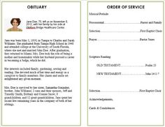 What to Include in a Funeral Order of Service / Memorial Order of Service Program Template / Card / Bulletin. Printable Funeral Card Templates available online for Microsoft Word at FuneralPamphlets.com