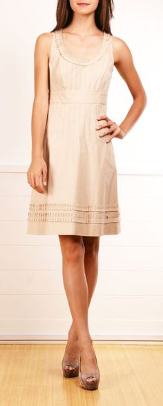 Love this khaki/nude dress.