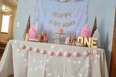 Pink and Gold Winter Wonderland First Birthday Party