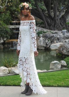 romantic bohemian crochet lace dress