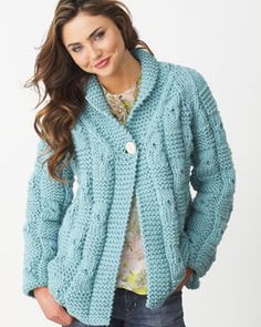 Textured Checks Cardigan - free cardigan pattern, sweater patterns, knitting patterns, knit sweaters, bernat softe, textur check, softe chunki, crochet patterns, check cardigan