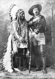 """Sitting Bull (Hunkpapa), William F. """"Buffalo Bill"""" Cody - 1885.  After one year of traveling with Cody, Sitting Bull had had enough and quit."""