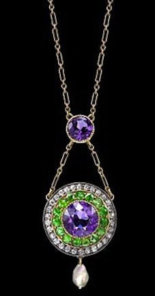Suffragette - green, white, violet (Give Women Vote) - pendant