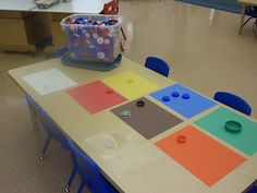 Sort bottle caps by color.  Sorting is a great early learning activitiy!