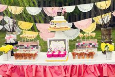 Dandelions and Fireflies party ideas.  Love the colored doily banner.