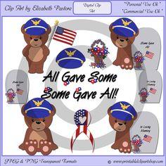 Memorial Day Bear Clip Art Collection