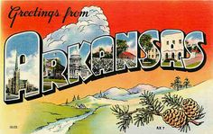Greetings From Postcards Vintage | ... AR 1940s Large Letter Greetings From Arkansas Vintage Linen Postcard