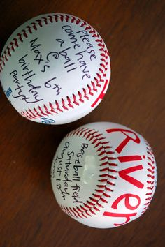 Unique baseball party invitations on baseballs! #baseball #party #birthday