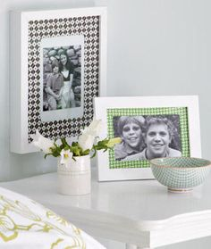 fabric picture frame mats - This would be great for sentimental fabric, like an old baby blanket or a grandmother's tablecloth.
