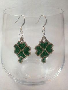 Shamrock Brick Stitch Earrings by BeadingBeeCreations on Etsy, $12.00