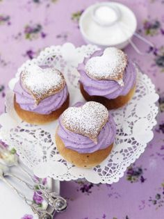Cutest Heart Topped Purple Buttercream Cupcakes