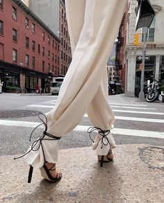 Trousers tied at the ankle | Pin discovered by Kelly's Closet bridal boutique in Atlanta, Georgia