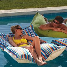 These pool floats are the ultimate in cushioned comfort in the water or on the deck.