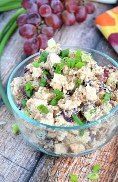 A sweet and smoky chicken salad, made lighter with greek yogurt, cranberries, celery and grapes that pairs wonderful with a croissant, whole...