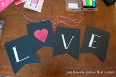 Postcards from the Ridge: Simple Valentine's Banner and a Party Invitation! #mpinterestparty