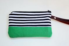 wristlet clutch in black and white strip with by rougeandwhimsy, $19.00
