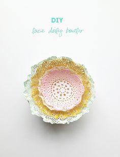 doily DIY header dy doili, diy dy, diy lace, crafti, doili diy, doili bowl, doilies, lace doili, bowls