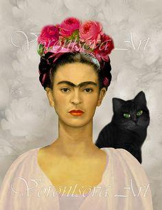 FRIDA KAHLO with Black cat . Printable collage sheet . digital graphic image download via Etsy.
