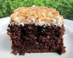 """chocolate toffee cake. in college we called this """"better than sex cake."""" either way, it's delicious and i'm craving it!"""