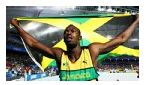 """IMG 111d: This image of Hussein Bolt is featured under the """"Must See"""" section of ESPN. Bolt is recognized worldwide for his extraordinary track performances. This Jamaican runner may be featured on an American site to ignite interest in readers because he is such a recognizable figure. hussein bolt, recogn worldwid, pe 2013, black pe"""