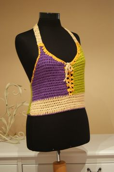 Purple Green Yellow Camel Crochet Halter Top  http://www.etsy.com/listing/93905106/purple-green-yellow-camel-crochet-halter