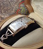 Rare, magnificent men's ultra-long Deco-era Waltham wristwatch in original Waltham factory box. Circa 1930.