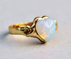 Vintage White Opal Ring,Heart Shaped Pinfire Opal,Opal Jewelry,Gold Adjustable Ring Band,RARE Shape,Birthstone Jewelry,Opal Jewelry on Etsy, $18.00