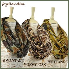 Real Tree Camo Infinity Scarf Camouflage Circle by ForgottenCotton, $22.00 realtree wetlands mossy oak style trend fashion accessory