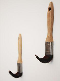 Brush Hooks by Dominic Wilcox via dezeen #Hooks #Brush_Hooks #Dominic_Wilcox craft, idea, brush hook, coat hooks, paints, paint brushes, domin wilcox, diy, coats