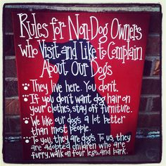 Rules for NonDog Owners 16 by 20 Canvas by SweetSerendipityAlly. , via Etsy.