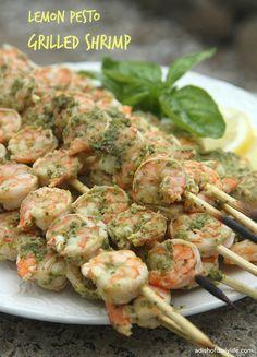 Lemon Pesto Grilled Shrimp | A DIsh of Daily Life #seafood