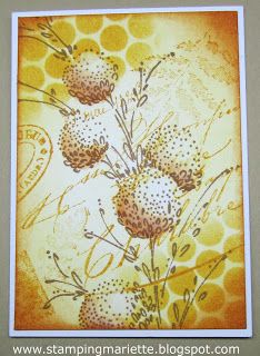 """By Mariëtte van Leeuwen. Uses Distress inks, templates, masks, and flower stamp from """"Delicate Florals"""" by Penny Black."""