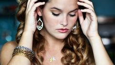 "Whitney Thompson wearing ""Dulce"" bracelets, ""Jaime"" earrings and ""Parker Puzzle"" necklace"